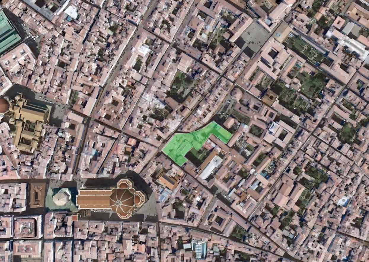 Helicopter view over central Florence